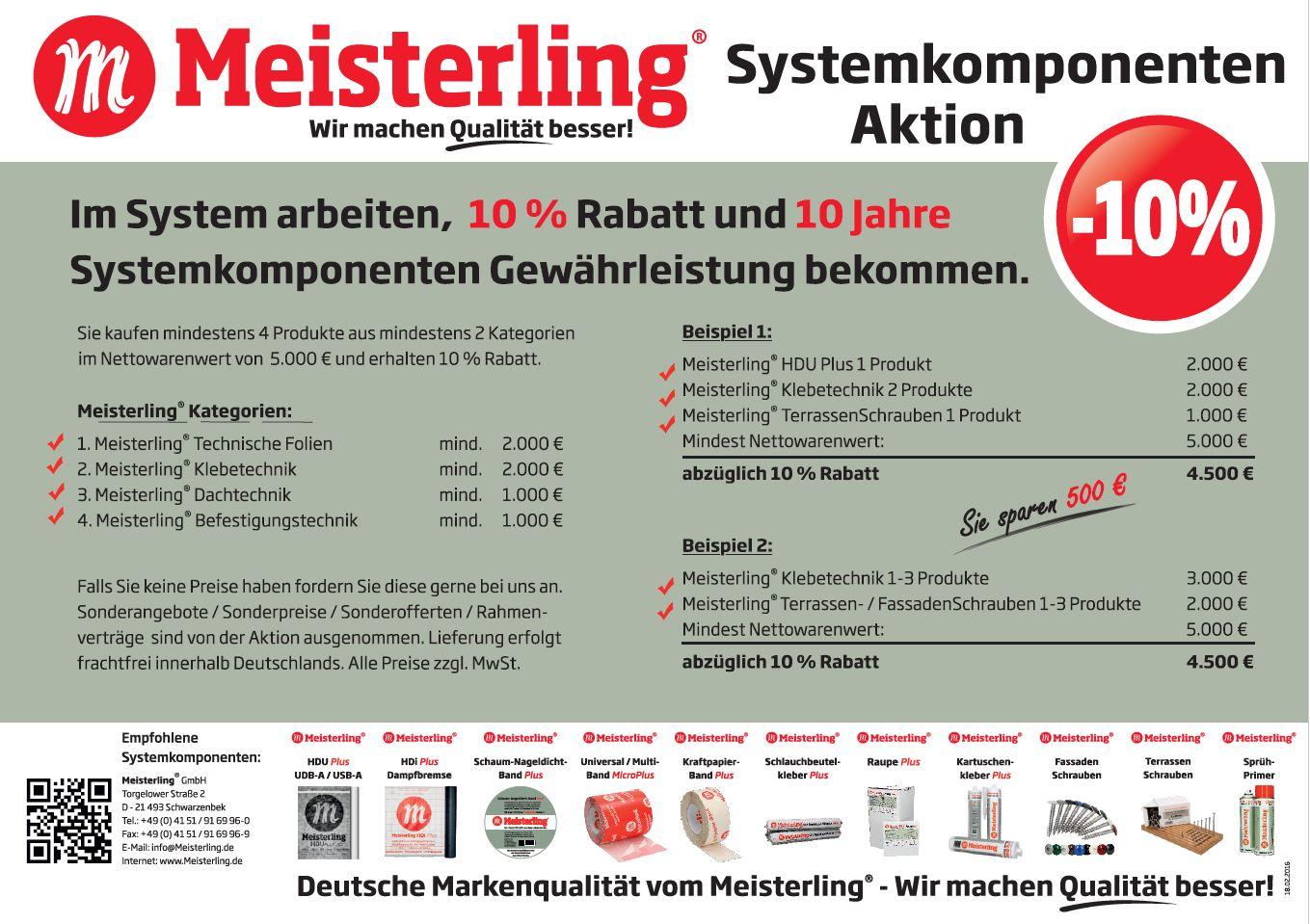 Meisterling®-Systemkomponenten-Aktion 10 % Rabatt