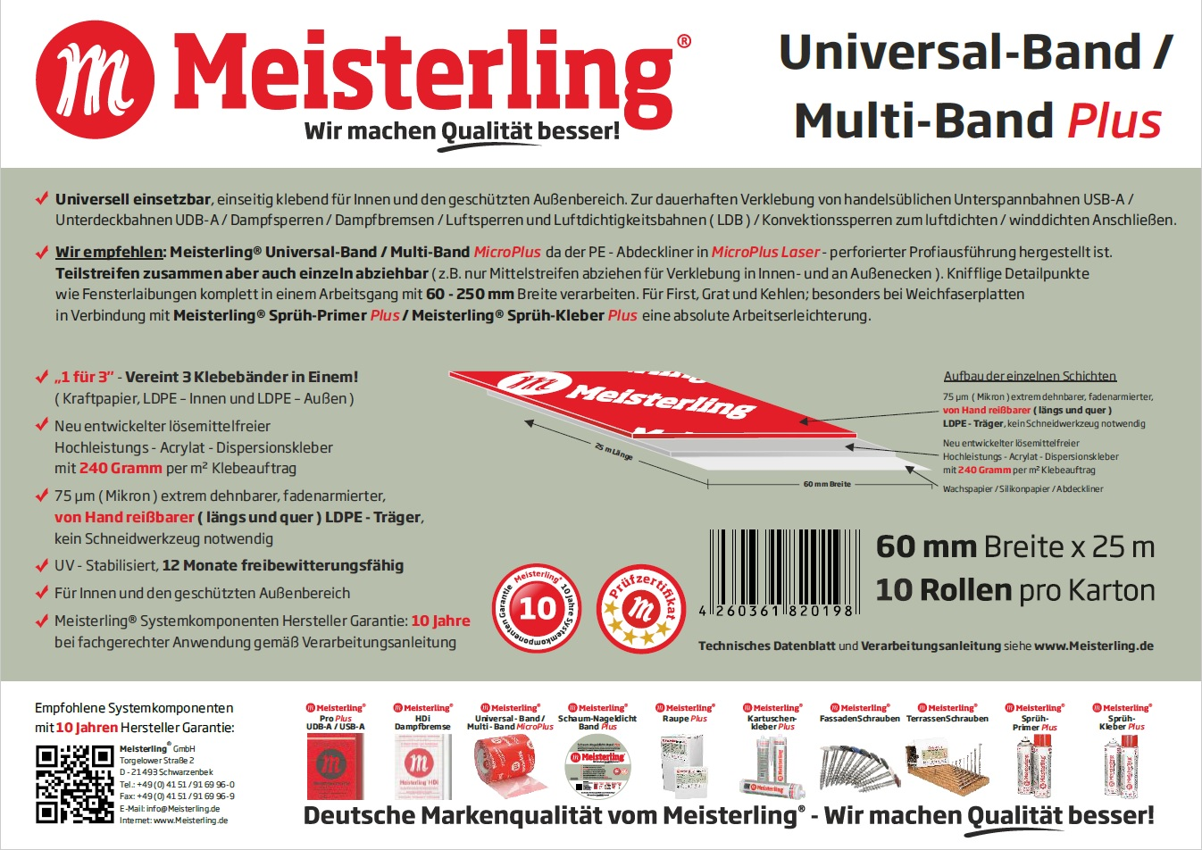 Technische Daten Meisterling® Universal-Band / Multi-Band PLUS