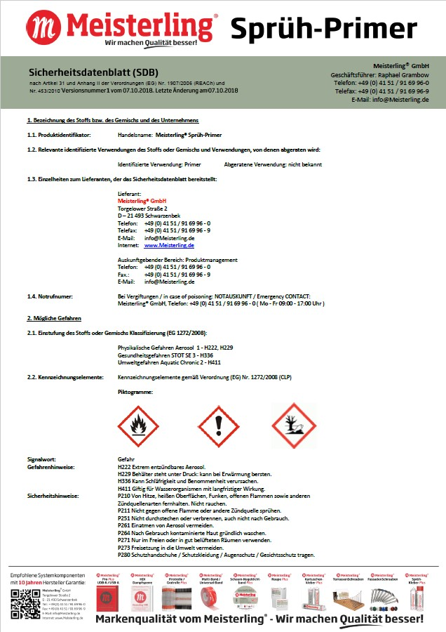 Meisterling® Sprüh-Primer Sicherheitsdatenblatt