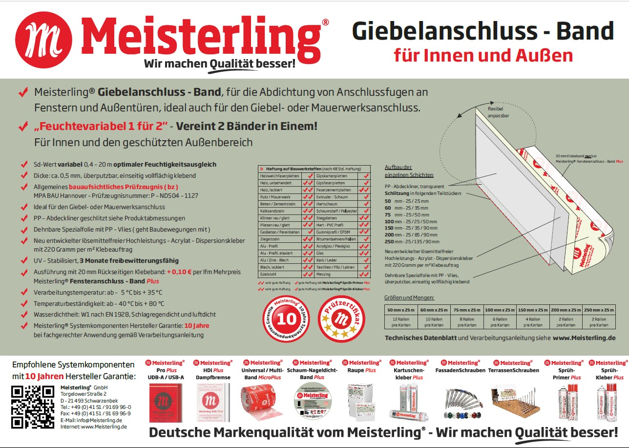 Meisterling® Giebel- / Fensteranschluss - Band
