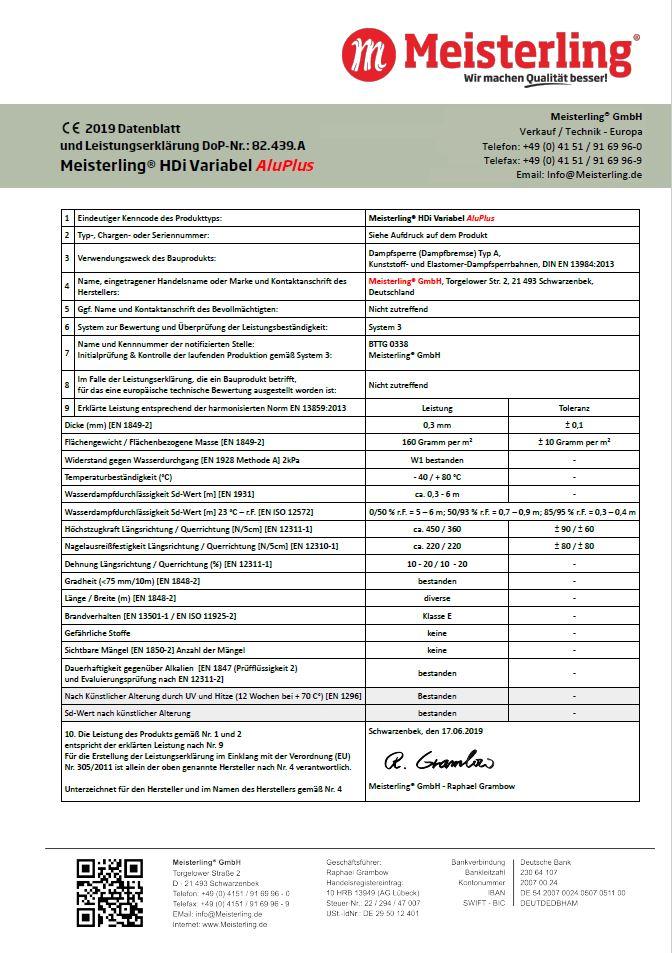 Meisterling® HDi Variabel Alu PLUS Leistungserklärung und CE Datenblatt