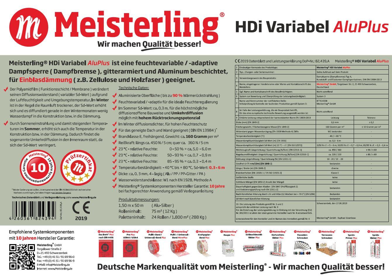 Meisterling® HDi Variabel Alu PLUS Technische Daten