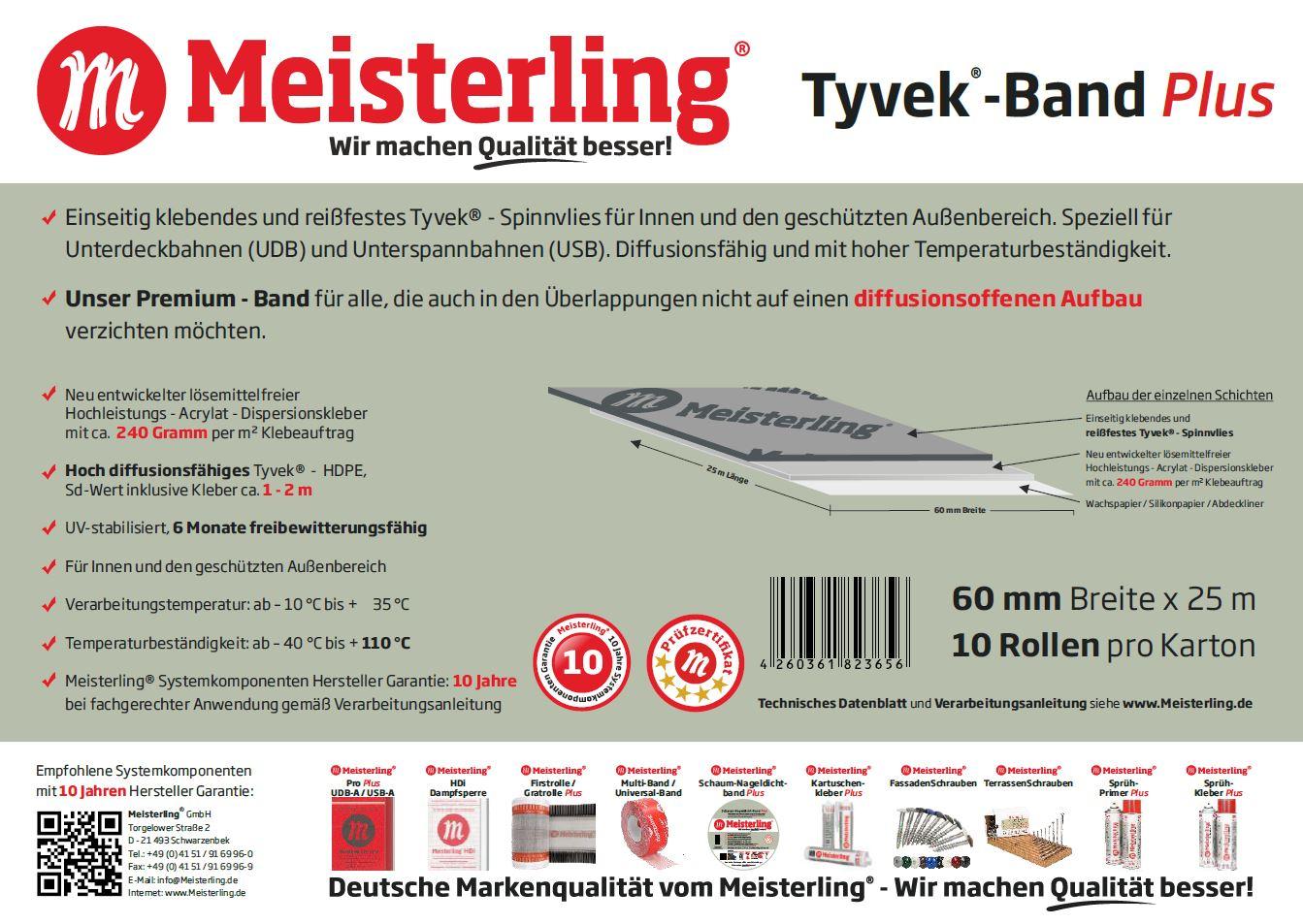 Meisterling® Tyvek® - Band PLUS Technische Daten