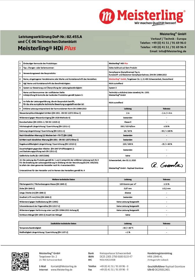 Meisterling® HDi PLUS Leistungserklärung und CE Datenblatt