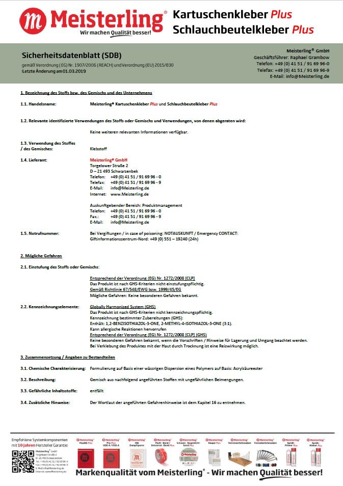 Meisterling® Kartuschenkleber PLUS + Schlauchbeutelkleber PLUS Sicherheitsdatenblatt ( SDB )