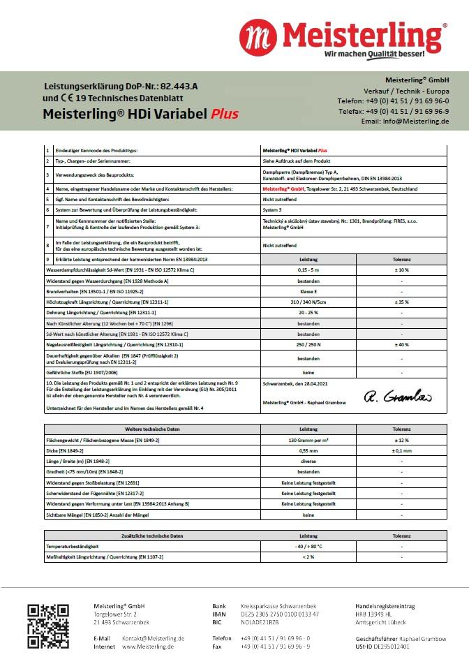 Meisterling® HDi Variabel PLUS Leistungserklärung und CE Datenblatt