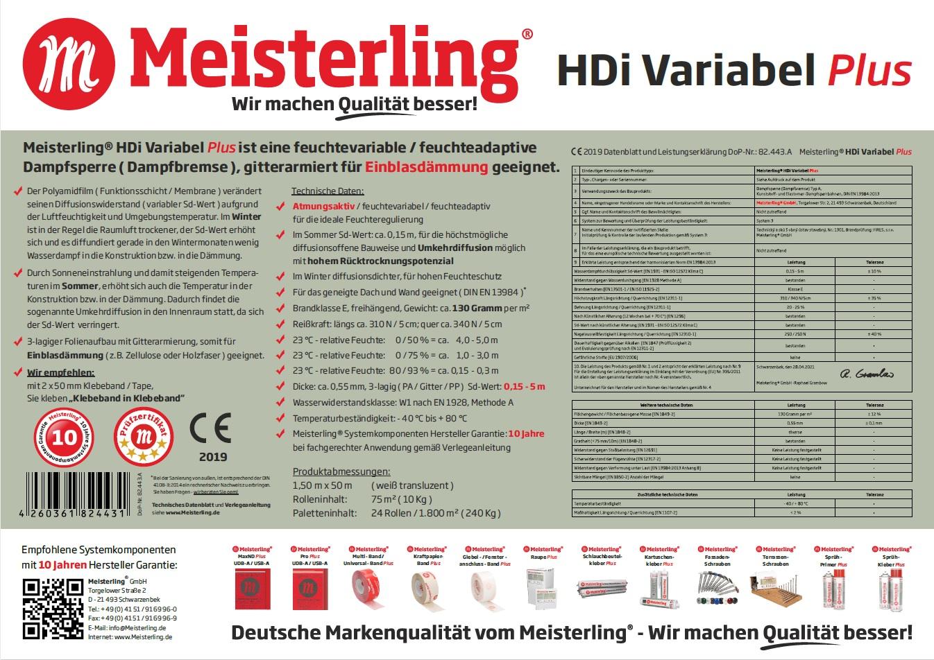 Meisterling® HDi Variabel PLUS Technische Daten