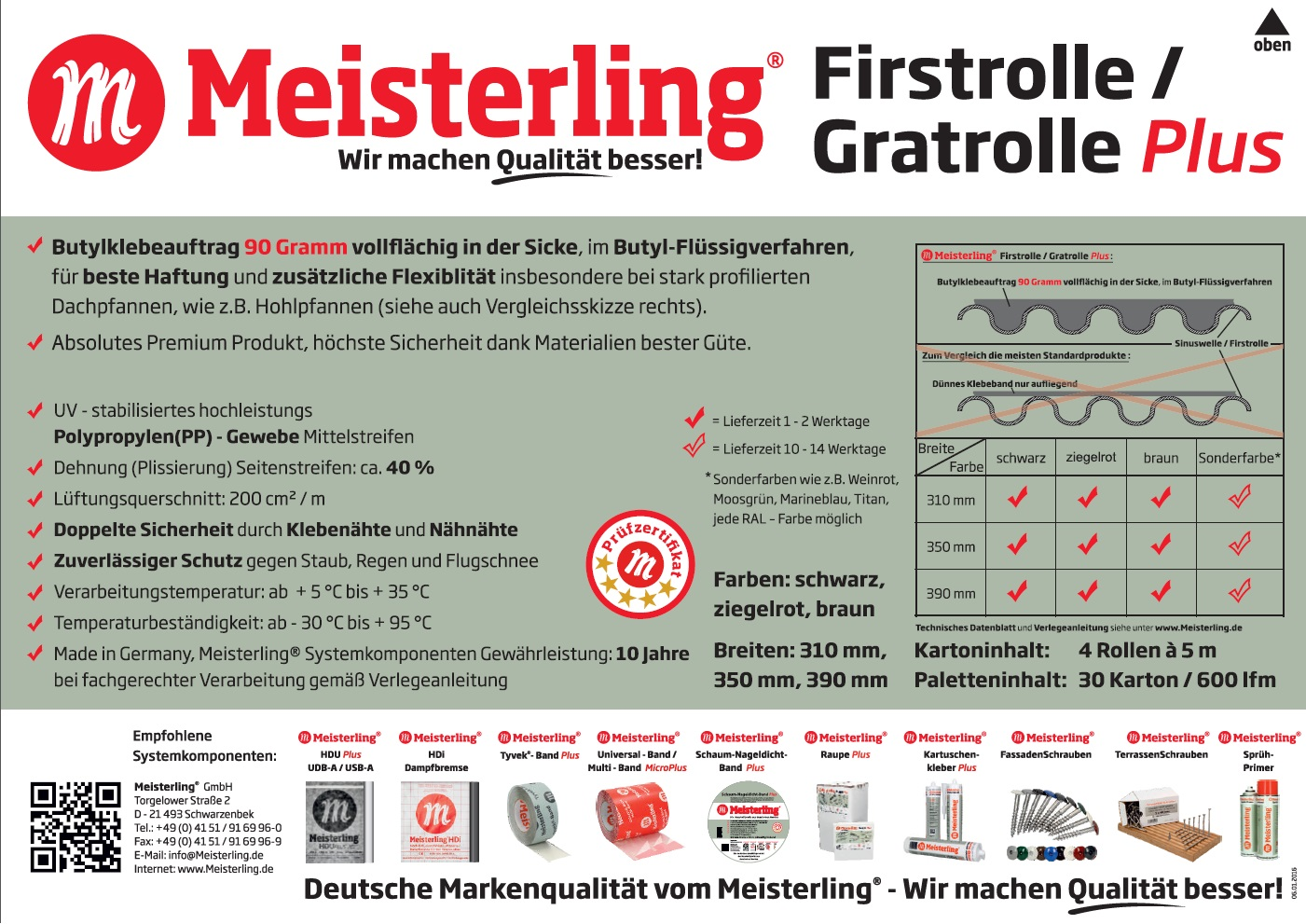 Grat Meisterling/® Firstrolle Roll first Gratrolle 320 mm First L/üfter