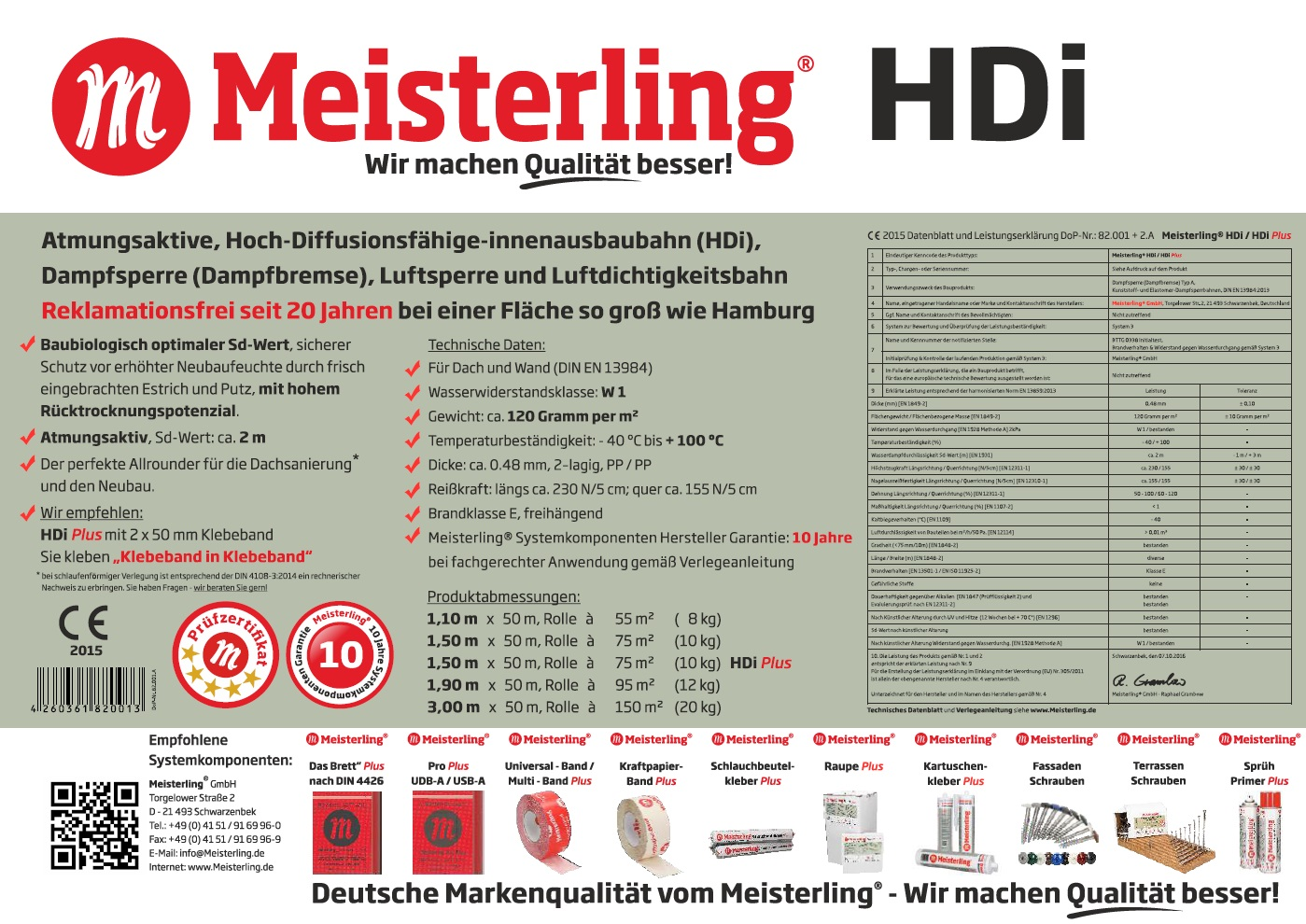 Meisterling HDi Variabel -adaptiv Dampfbremse//Dampfsperre feuchtevariabel